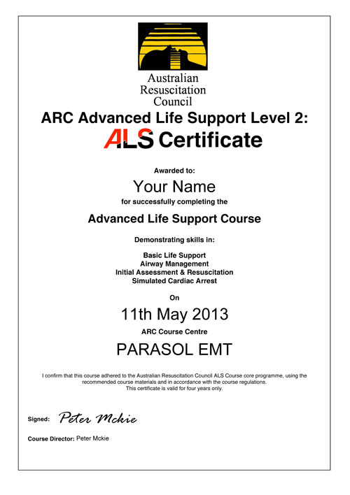 Advanced Life Support Als Certificate 2 Parasol Emt Phtls